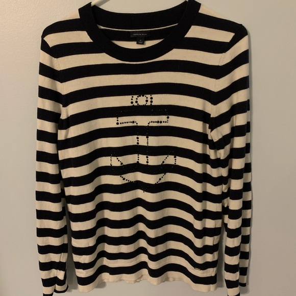 NWT Tommy Hilfiger Women/'s Long Sleeve Anchor Stripe Pullover Sweater M